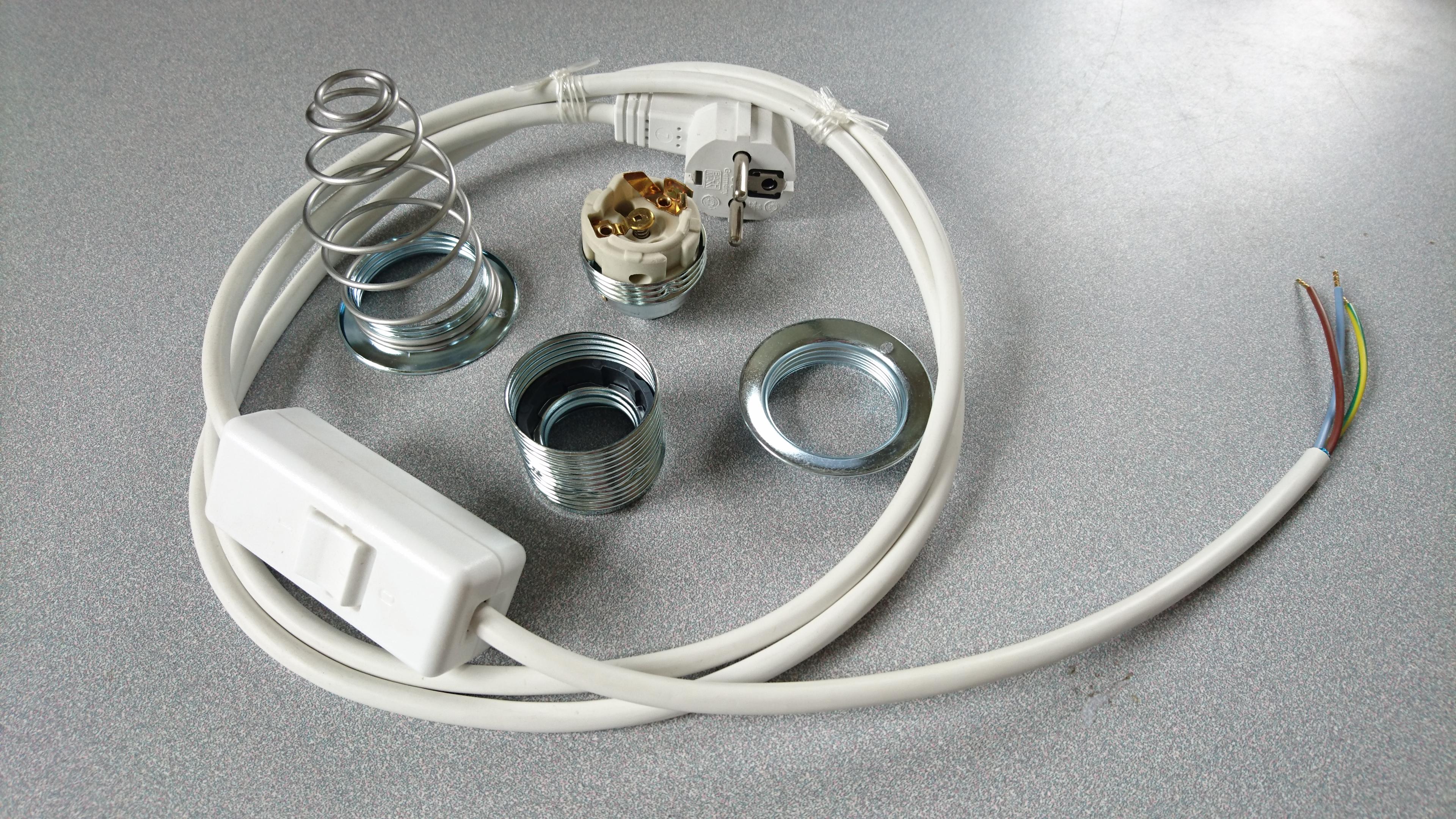 Kit complet c ble de remplacement lampe avec interrupteur bipolaire danell douille spire - Kit douille cable interrupteur ...